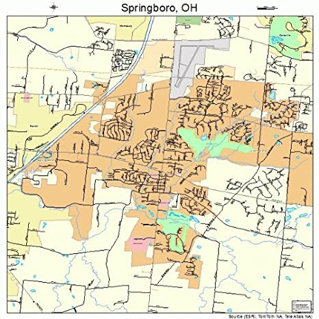 Amazon Com Large Street Road Map Of Springboro Ohio Oh Printed