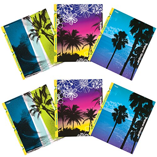 mead-trapper-keeper-snapper-trapper-2-pocket-folders-fun-in-the-sun-assorted-designs-6-pack-73431