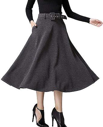 dahuo Falda de Lana de Tiro Alto para Mujer, Color sólido, Caqui ...