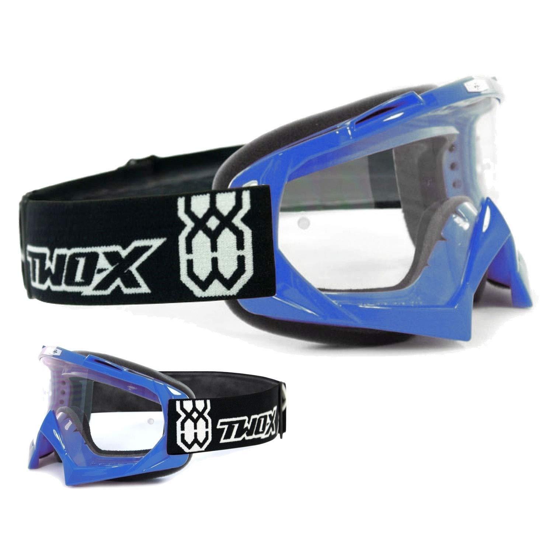 TWO-X Race Crossbrille Text schwarz Weiss Glas verspiegelt blau MX Brille Motocross Enduro Spiegelglas Motorradbrille Anti Scratch MX Schutzbrille