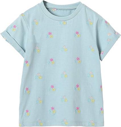 VERTBAUDET Camiseta para niña Bordada con Flores Azul Claro ...