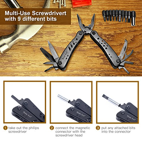 Rose Kuli Multitool Knife Pliers 12 in 1 Portable Pocket Multifunctional Multi Tools with Folding Saw Wire Cutter Mini Screwdrivers Set For Outdoor Camping Survival by ROSE KULI (Image #3)
