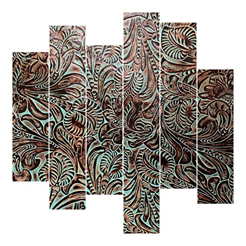 Embossed Leather Floral Turquoise, Cut to Size, Leather Sheets for Bags, Wallets, Horse Tack, Earrings or Upholstery (8x8 inch)