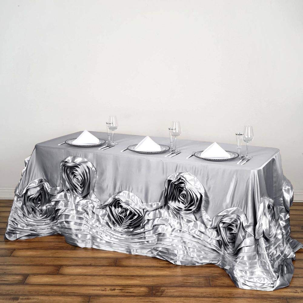 Efavormart 90''x156'' Silver Large Rosette Rectangle Tablecloth Lamour Satin Tablecover for Wedding Party Dining Birthday