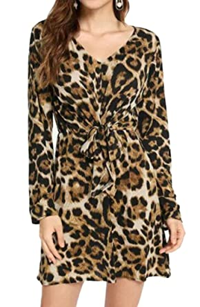81021d89f40 OTW Women s Leopard Print Plus Size Lace Up Bandage Long Sleeve Party Mini  Dress Coffee S