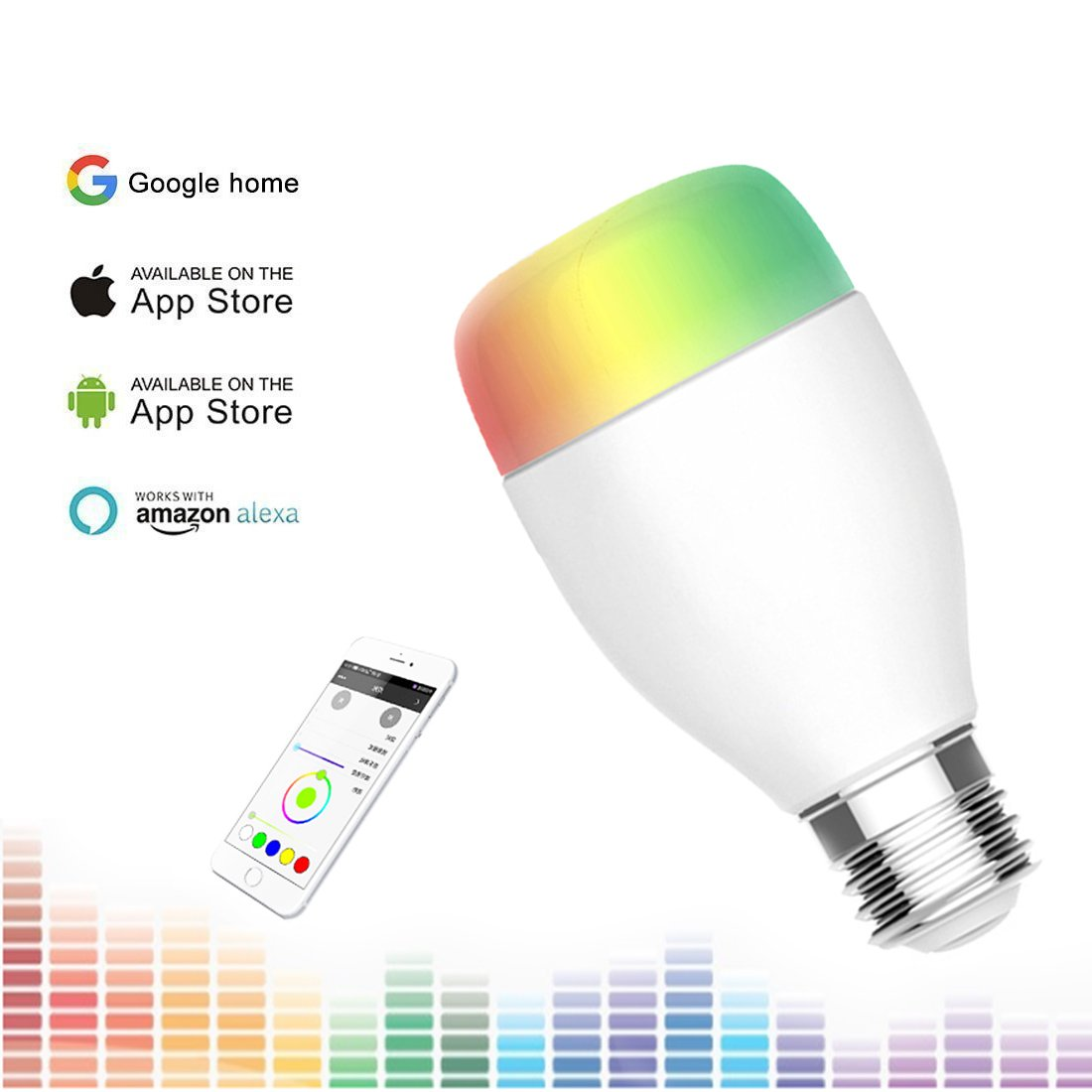 Lonwing WiFi Smart LED Light Bulb,RGB Multicolor Dimmable Support Smart Phone APP Daylight & Night Light Wireless Control ,Suitable for Home Lighting Party