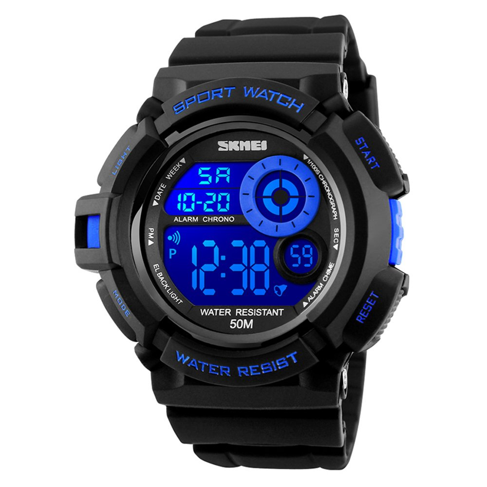 SKMEI 7 Colors Changeable Digital Watch Waterproof Soft PU Band LED Backlight Outdoor Sports Wristwatch (Blue)