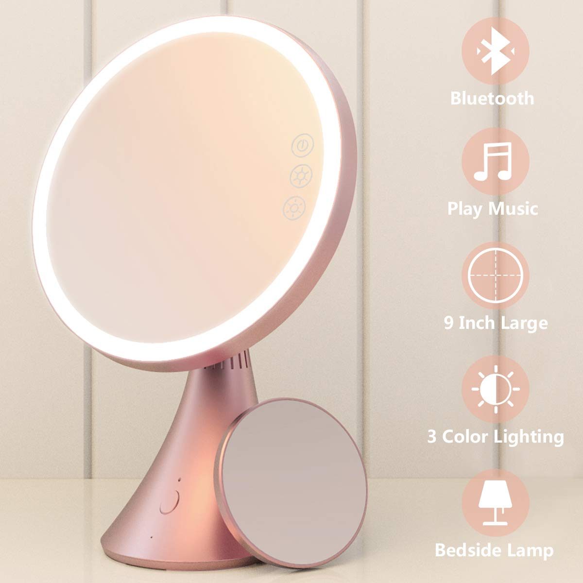 Babyltrl Lighted Makeup Mirror, Rechargeable 9 Inch Vanity Mirror with Bluetooth Speakerphone, 1X 5X Magnifying Mirror, 3 Color Lighting Modes and Dimmable Makeup Mirror with Lights
