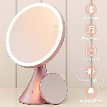 Babyltrl Lighted Makeup Mirror, Rechargeable 9 Inch Vanity Mirror with  Bluetooth Speakerphone, 1X/5X Magnifying Mirror, 3 Color Lighting Modes and