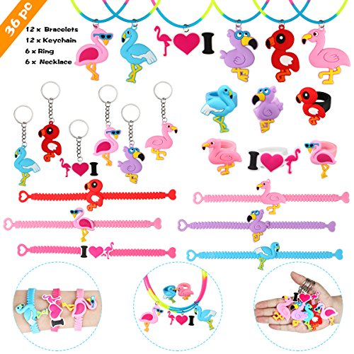 Aitey Flamingo Party Supplies, Flamingo Bracelets, Rings, Necklace and Keychains, Rainbow Flamingo Birthday Party Favors Set Prizes Gift for Kids and Girls (36 Packs) by Aitey (Image #7)