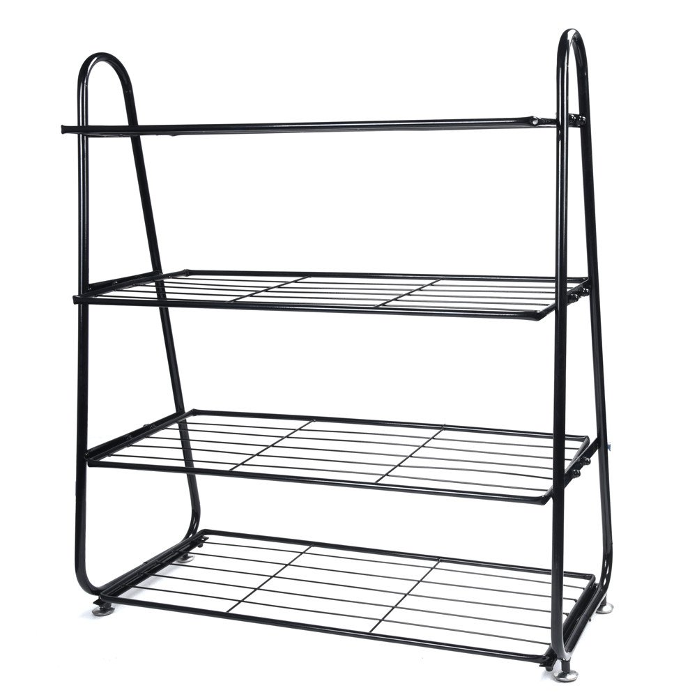 Agelloc 4-Tier Iron Mesh Utility Shoe Rack Shoes Stainless Organizer Shelf Storage Black US Fast Shippment