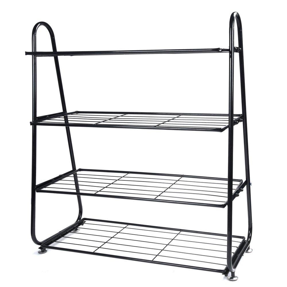 Hmlai 4-Tier Free Standing Shoe Rack, Iron Mesh Utility Stainless Shoe Organizer Shelf Storage