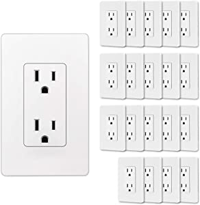 (20 Pack) CML 15A Decor Receptacle Outlet with Screwless Wallplate, 15A/125V, 3-Year Warranty, UL Listed