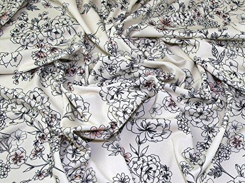 Floral Print Scuba Crepe Stretch Jersey Knit Dress Fabric Cream - per ()