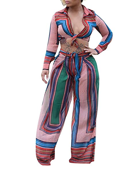 a8a03fef927 Amazon.com  Women Digital Printed 2 Piece Outfit Long Sleeve Color Block  Crop Tops and Wide Leg Long Pants Set Jumpsuits with Belt  Clothing