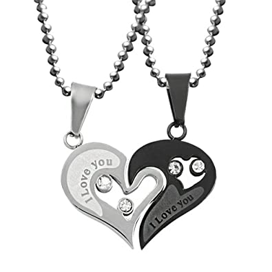 3261ae2f74 Uloveido Stainless Steel Mens Womens Couple Pendant Necklace Love Heart CZ  Puzzle Matching Fashion Jewelry Stores (Black) SN102: Amazon.co.uk:  Jewellery