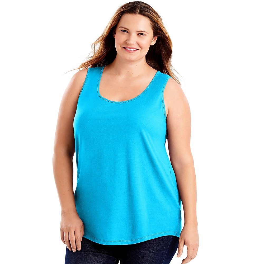Just My Size Womens Cotton Jersey Shirttail Tank Top, 1X, Process Blue by Just My Size (Image #1)