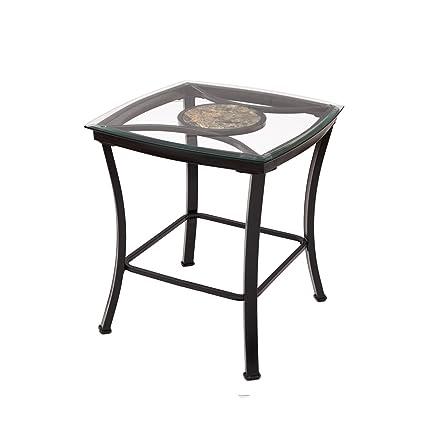 Adeco Glass U0026 Black Metal End/Side Table, Metal Frame Is Black
