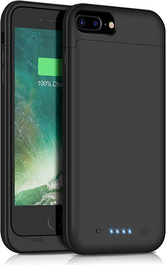 Black Battery Case for iPhone 8 Plus// 7 Plus 8500mAh,Upgraded HETP Protective Rechargeable Extended Battery Pack for iPhone 7Plus Charging Case for Apple iPhone 8Plus Portable Power Bank 5.5 inch