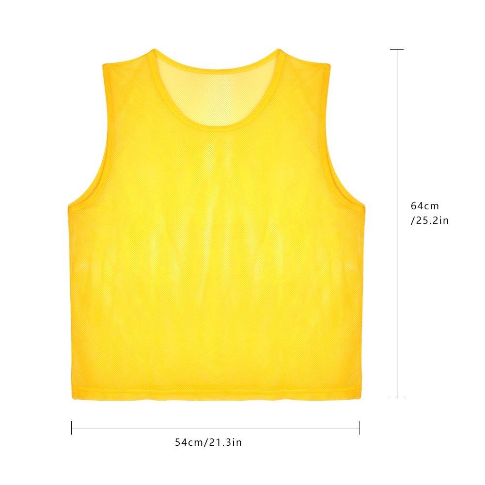 12pcs Petos de Entrenamiento Petos de Fútbol para Adultos ( Color    Amarillo )  Amazon.es  Deportes y aire libre 485103f196e