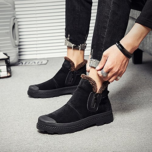 Men's Shoes Feifei Winter Keep Warm Flanging High Help Cotton Shoes 2 Colours (Color : Black, Size : EU43/UK9/CN44)