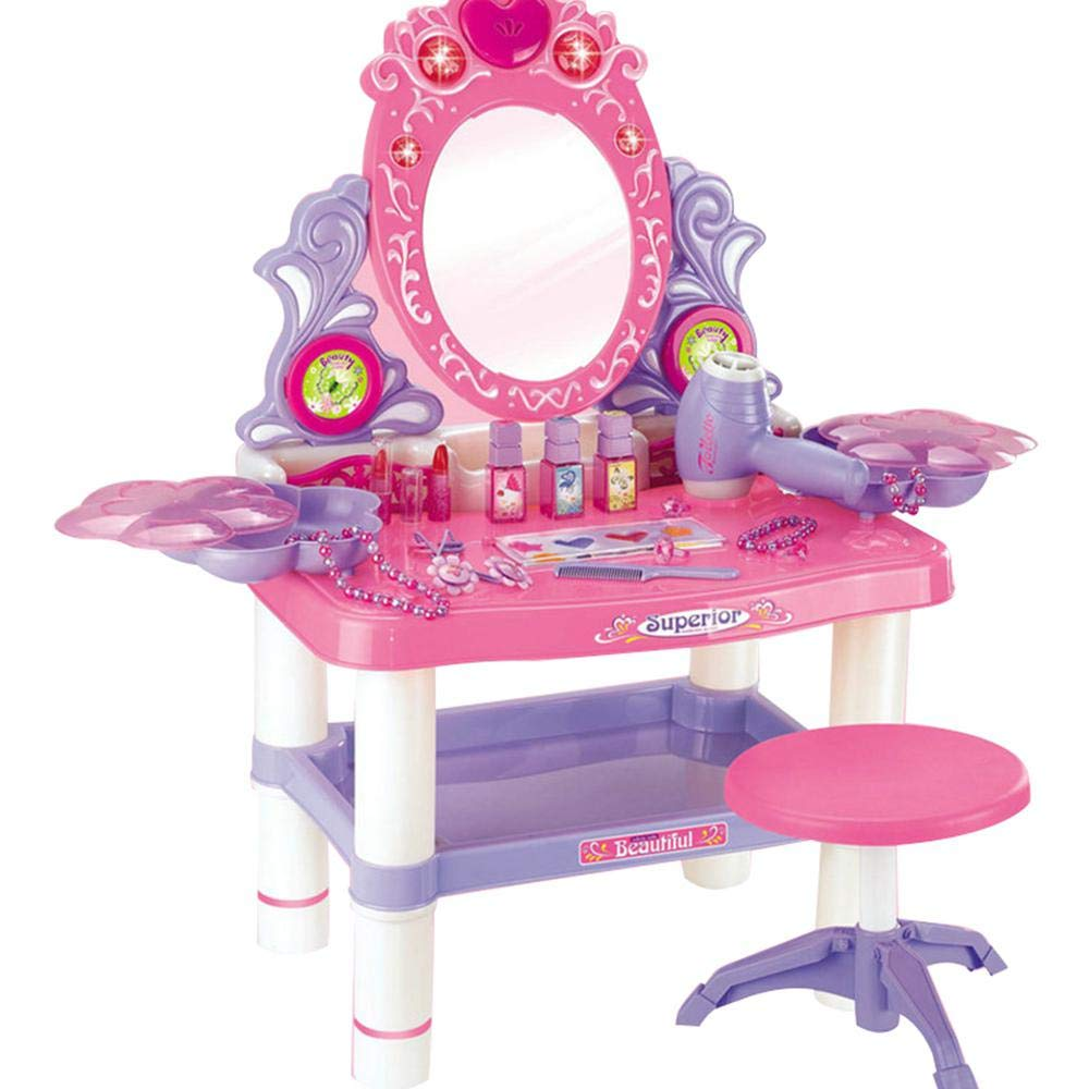 lesgos Toy Vanity Table, Makeup Dressing Table Toy Playset, Pretend Play Makeup Kit Toy Vanity with Mirror Lipstick Hair Dryer Jewelry and Chair for Kids Girls