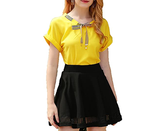 9a3d3fe76559 Letters-from-Iceland Dress Skirt Female Summer New Chiffon Shirt + Temperament  Skirt Korean Version Two-Piece Dress Tide at Amazon Women s Clothing store