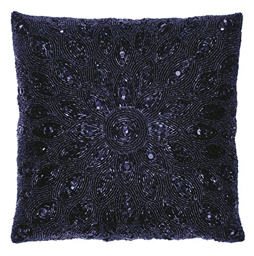 Cotton Craft - Peacock Hand Beaded Decorative Pillow 12x12 Square Navy, Painstakingly and lovingly handmade by skilled Artisans, A beautiful and elegant accessory to dress up your couch, sofa or bed -