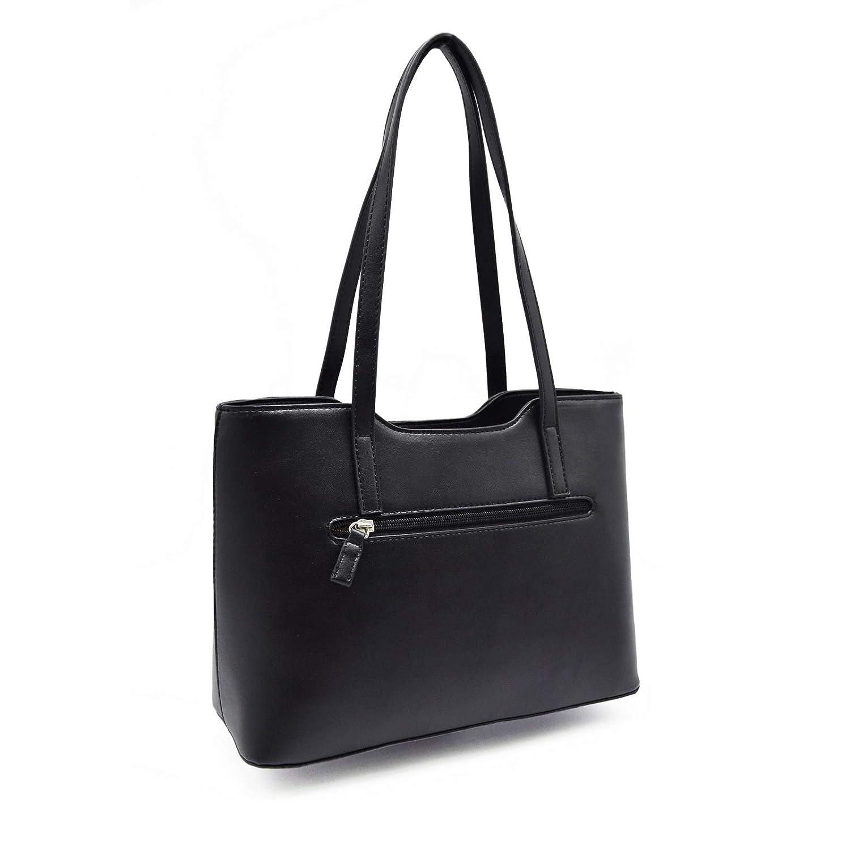 b36baee7ffb3e David Jones - Women top-handle bag with long handles - Imitation smooth  leather - Rigid handbag - Classic form - Hobo shoulder bag - Fashion lady  style ...