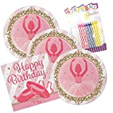 JJ Party Supplies Twinkle Toes Ballerina Birthday Theme Plates and Napkins Serves 16 With Birthday Candles