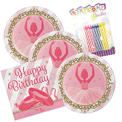 JJ Party Supplies Twinkle Toes Ballerina Birthday Theme Plates and Napkins Serves 16 With Birthday Candles ()