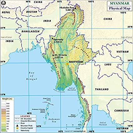 Myanmar Physical Map (36u0026quot; ...