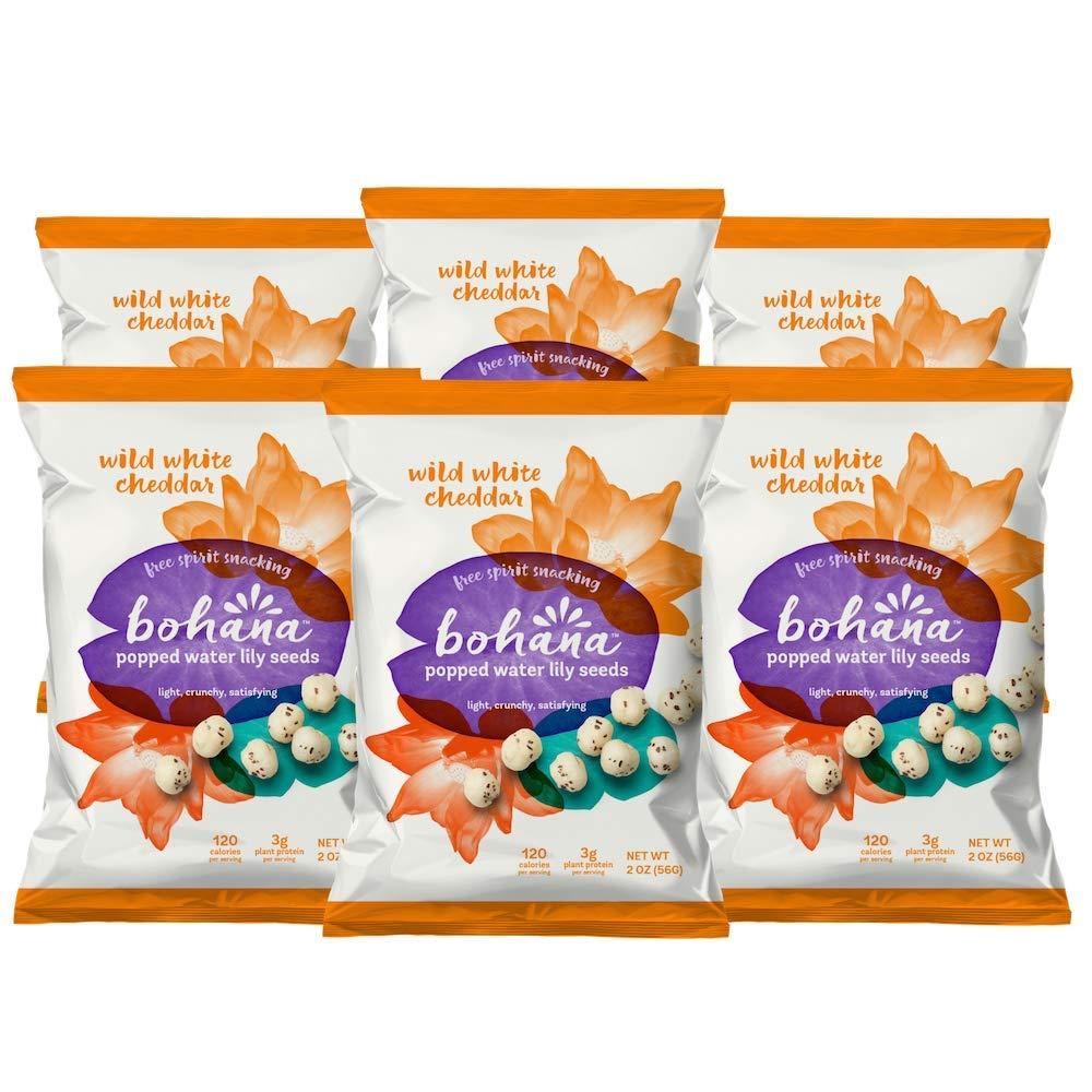 Bohana Gluten Free Popped Water Lily Seed Snack, Wild White Cheddar, 2oz, (Pack of 6) by BOHANA