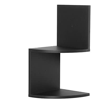 WOLTU Floating Shelves Black Wooden Corner 2 Tier Storage Display Shelf S Shaped Bookshelf Bookcase