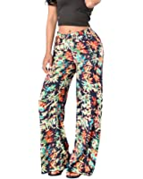 Gillberry Sexy Women Printed Stretch High Waist Wide Leg Long Pants Trousers