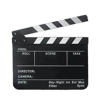 Claqueta de Cine Clapboard Tabla de Pizarra Plástica Acrílica 300 * 245 * 3 mm Vario Colores - Claqueta Negra