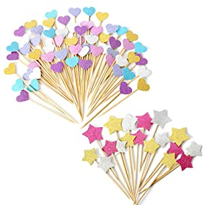 ARTEM 100Pcs Glitter Cupcake Toppers Mix Color Heart Star Paper Cake Toppers Cake Insert Cake Toothpick Tag for Decorations Baby Shower Party Wedding New Years