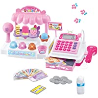 ICE CREAM Store Cash Register with Pretend Play, postres, escáner de trabajo, calculadora, micrófono, dinero y tarjeta…