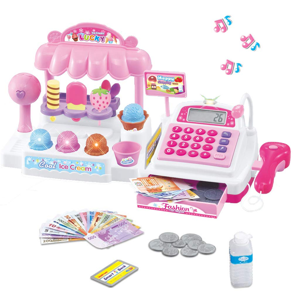 Liberty Imports Ice Cream Store Mini Cash Register with Pretend Play Desserts, Working Scanner, Calculator, Microphone, Money and Credit Card by Liberty Imports