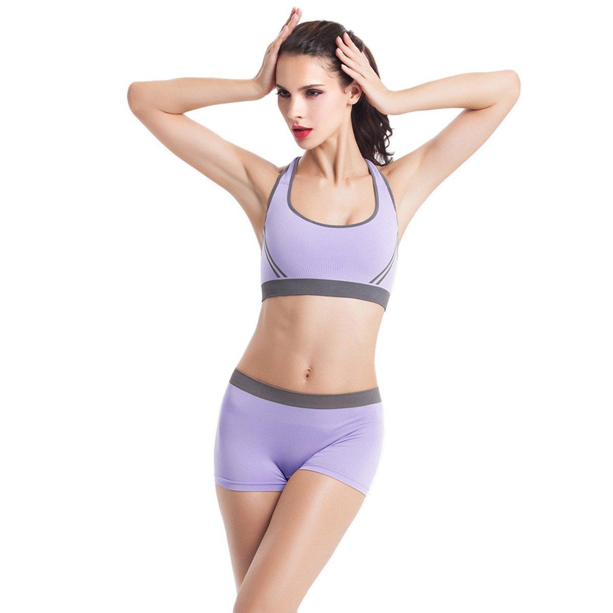 70265b3abdca7 Evaliana Women Athletic Workout Tracksuit Fitness Gym Yoga Sports Bra  Shorts Set at Amazon Women s Clothing store