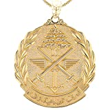 10k Yellow Gold Lebanese Army Insignia Pendant Necklace (Large)