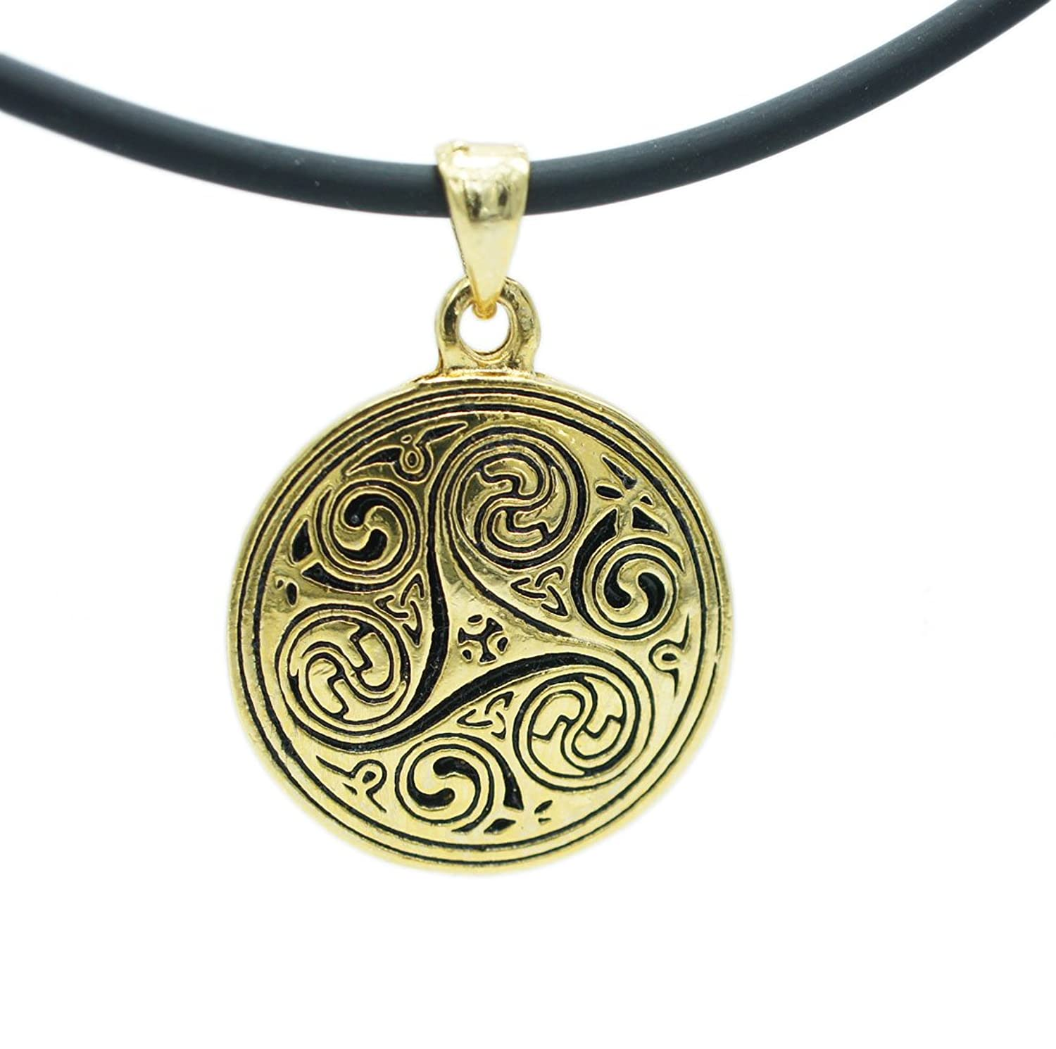 celtic ball triskelion morgana pewter druid w chain jewelry trinity amazon dp merlin pendant huge com triskele black