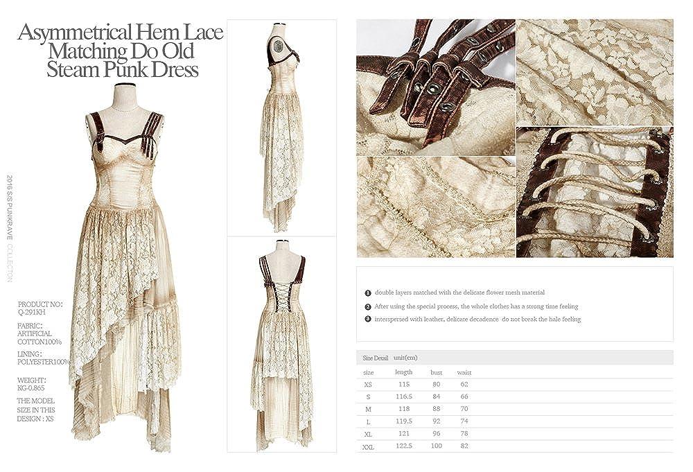 cfed9816c22 PUNK Steam Women Long Lace Dress Condole Belt Gothic Summer Dresses Khaki  at Amazon Women s Clothing store