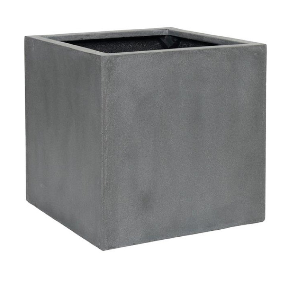 "Elegant Gray Square Indoor Outdoor Planter Pot – Elegant Cube Shaped Flower Pot - 24""H x 24""W x 24""L - By Pottery Pots by Pottery Pots"