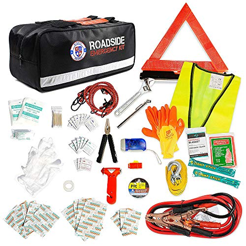 Always Prepared 125 Piece Safety Roadside Assistance Kit - Premium Car Emergency Kit with Jumper Cables - Roadside Assistance Auto Emergency Kit - Exclusive Car Kits Emergency - Gifts for New Car