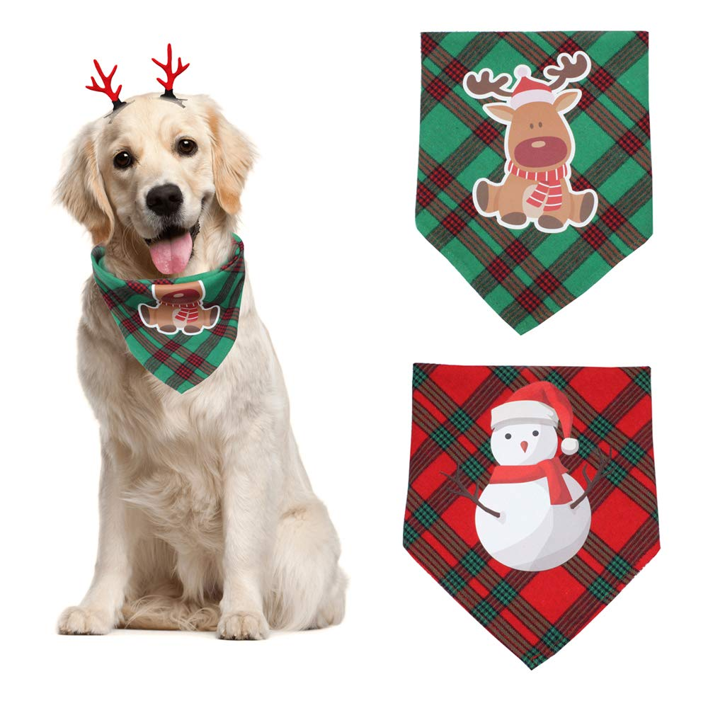 2 Pack Christmas Dog Bandana Cotton Bibs Triangle Scarf and Cute Reindeer Antlers Hair Clip