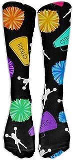 Bgejkos Knee High Socks Black Bullhorns Pompoms Cheerleading Long Sports Tube Stockings For Mens Women All Sport Holiday