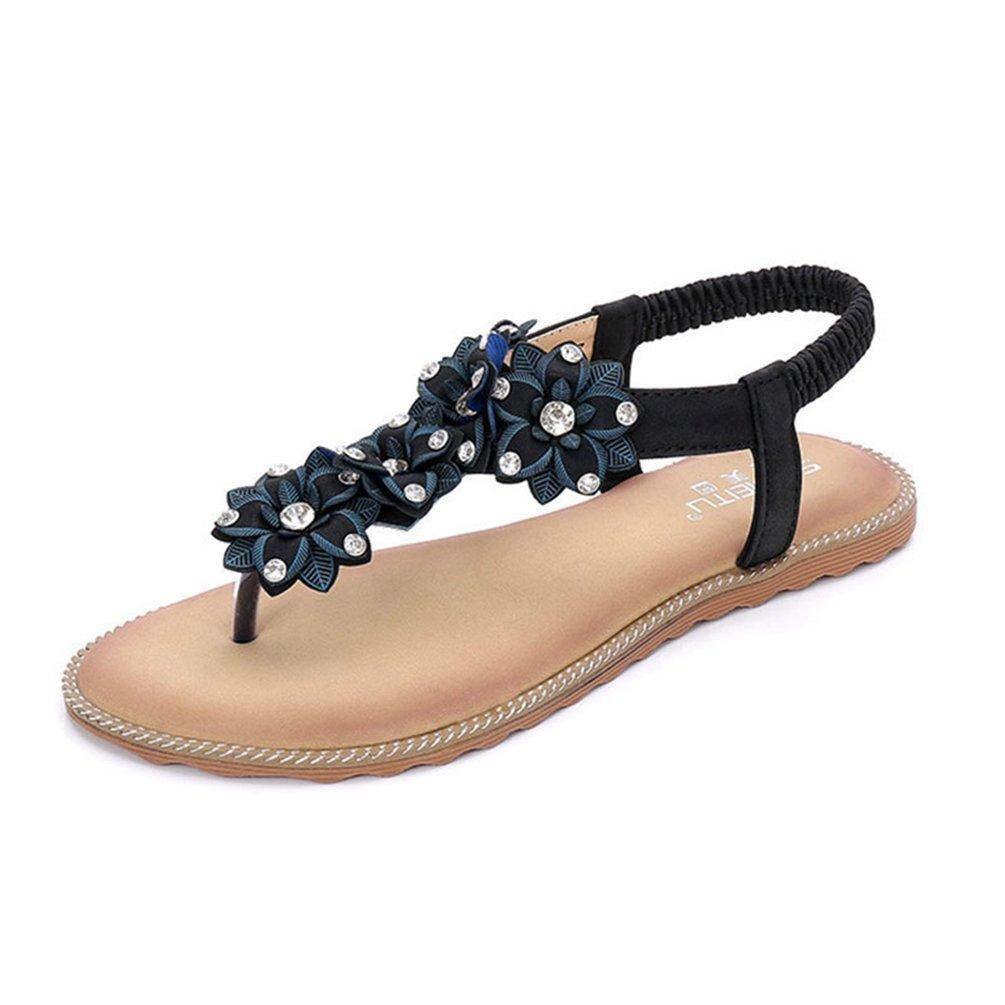 JRenok Women es Summer Thong Flache Sandalen T-Strap Blumen Slip auf Sommer Strand Gladiator Sandale Flip Flops Schuhe  37 EU|Schwarz