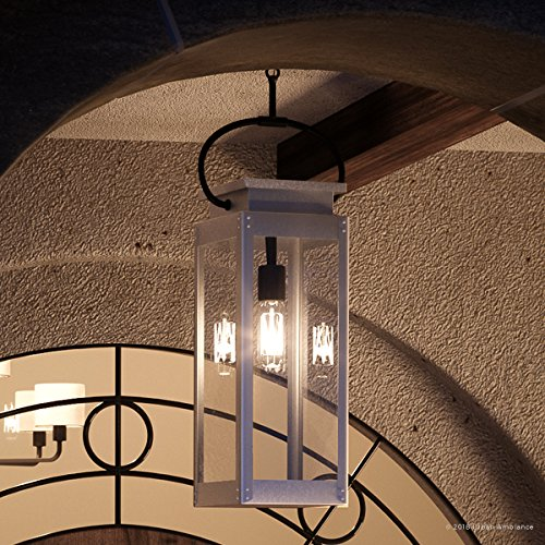 """Luxury Modern Farmhouse Outdoor Pendant Light, Large Size: 27.375""""H x 7""""W, with Nautical Style Elements, Stainless Steel Finish, UHP1134 from The Darwin Collection by Urban Ambiance"""