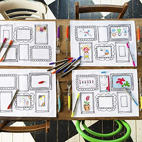 Doodle 'Frame' Placemats, Color Your Own Placemats, Coloring Placemats with Washable Fabric Markers (Set of 4 Place mats)